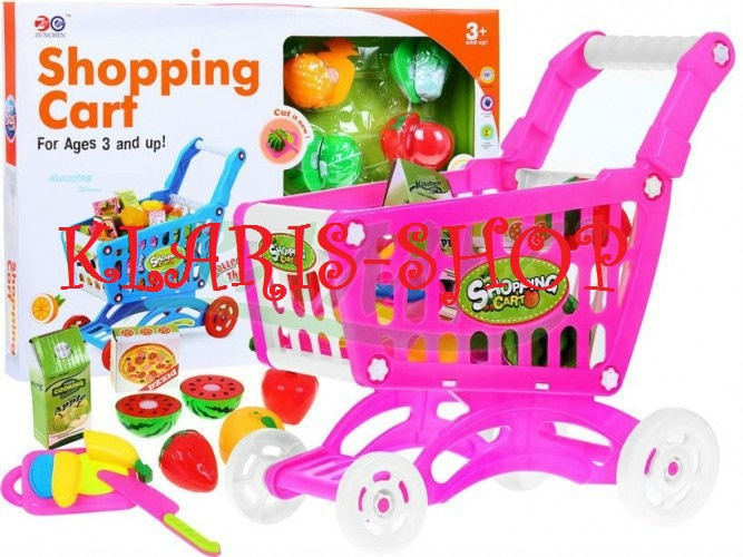Nákupní vozík růžový s doplňky + krájecí ovoce a zelenina