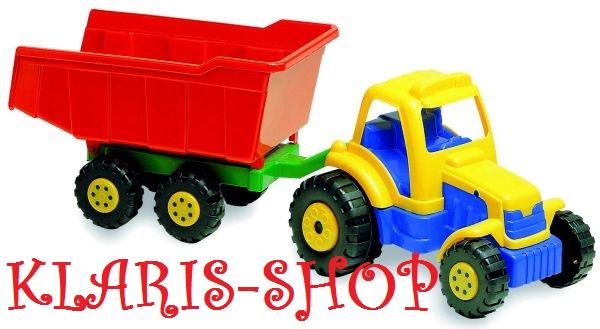 Traktor s přívěsem - délka 65 cm